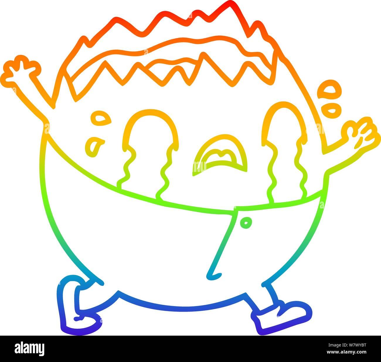 rainbow gradient line drawing of a humpty dumpty cartoon egg man crying Stock Vector