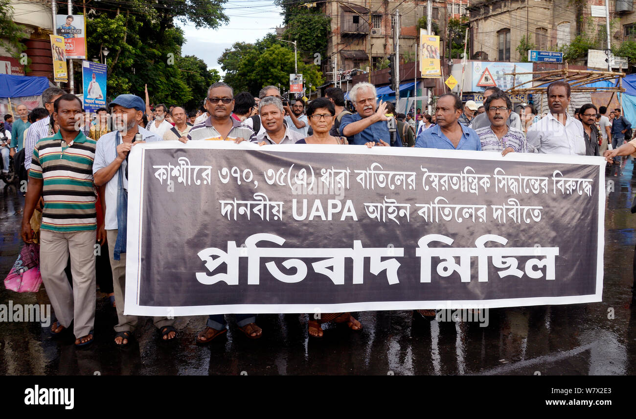 Association for Protection of Democratic Rights or APDR activists take part in a rally to protest against the revoking of Article 370. (Photo by Saikat Paul/Pacific Press) Stock Photo