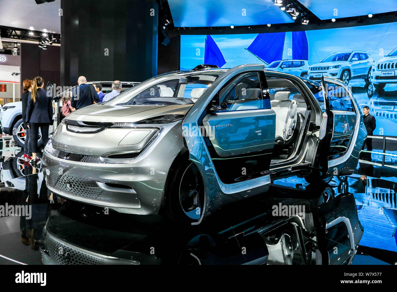 A GAC Fiat Chrysler Automobiles Portal Concept car is on display during the 17th Shanghai International Automobile Industry Exhibition, also known as Stock Photo