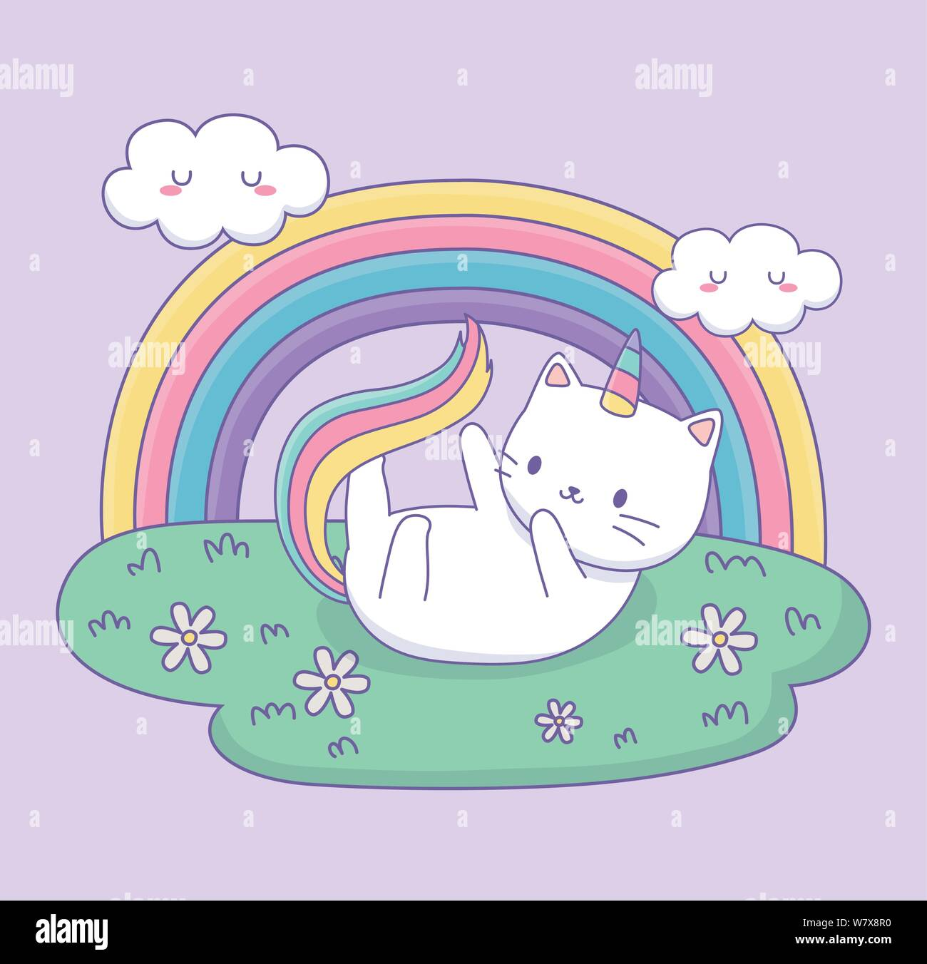 Cute Cat With Rainbow Tail In The Camp Kawaii Character Vector