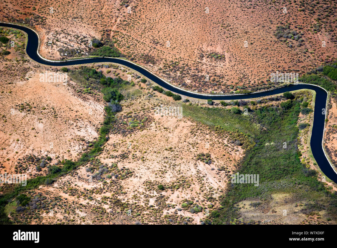 Aerial photograph of the Olifants River and the intensive irrigation / canal system used along its course, a threat to the endemic fish species found here. Citrusdal and Clanwilliam area, Western Cape, South Africa. December 2013. Stock Photo