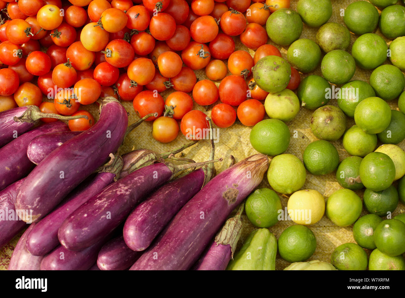 Fruits and vegetables for sale in market in Luang Prabang, Laos, March 2009. Stock Photo