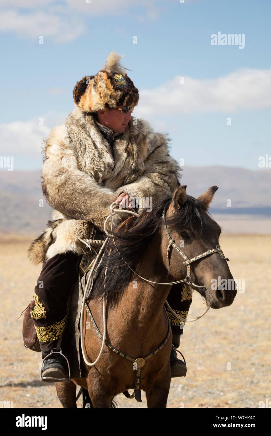 Eagle hunter mounted on Mongolian horse at Eagle Hunters Festival, near Sagsai, Bayan-Ulgii Aymag, Mongolia. September 2014.. Stock Photo
