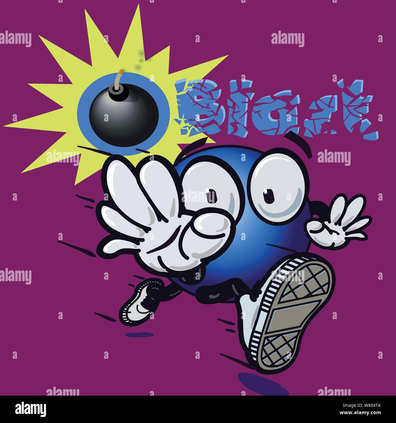 An animated running ball with a worried look runs toward you as a bomb explodes in the background and the word blast shatters. Stock Vector