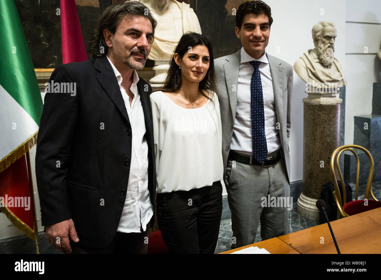 Rome, Italy. 07th Aug, 2019. Presented at the Capitol, the Urban Plan for Mobility in Rome was officially illustrated today by the Mayor of Rome, Virginia Raggi, by the President of the Mobility Commission, Pietro Calabrese, and by his predecessor Enrico Stefano. (Photo by Andrea Ronchini/Pacific Press) Credit: Pacific Press Agency/Alamy Live News Stock Photo