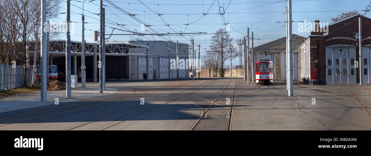 Tram waiting in tram depot Stock Photo
