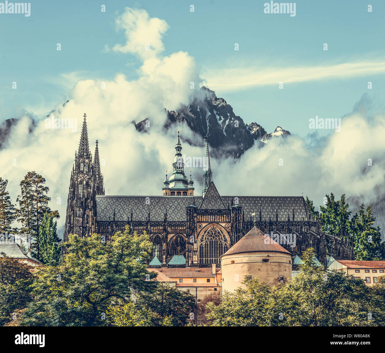 Castle on a background of rocky mountains. Stock Photo