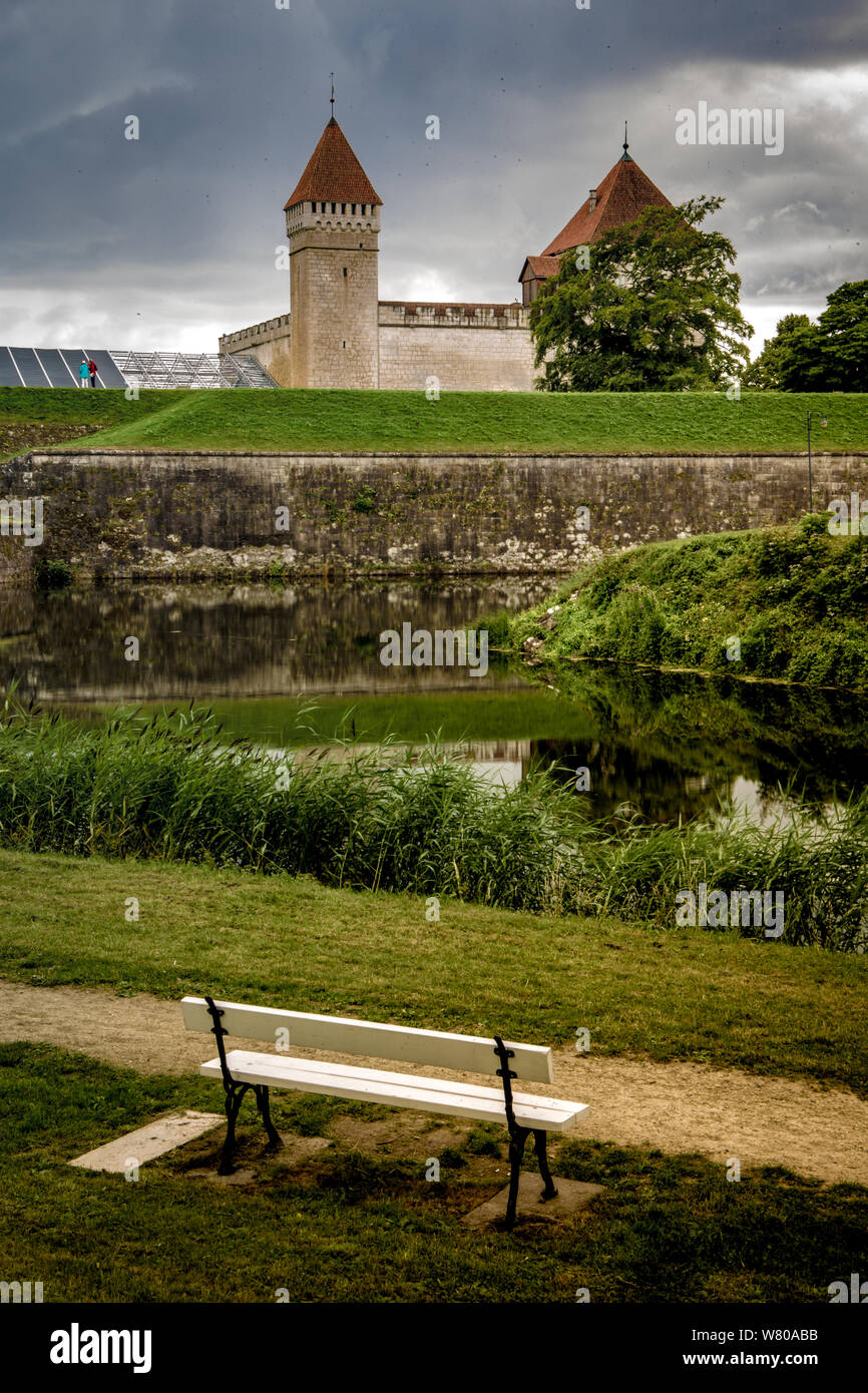 Kuressaare Citadel with bench on foreground Stock Photo
