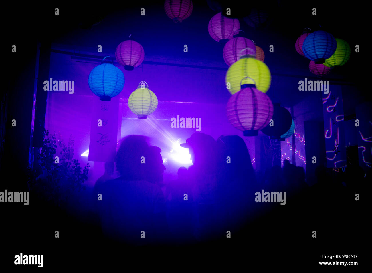 Party room with colorful paper balloons Stock Photo