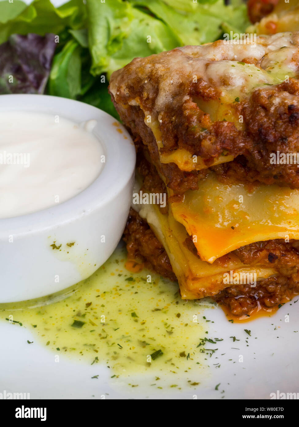 Tomato And Beef Lasagne With Cheese Layered Between Sheets