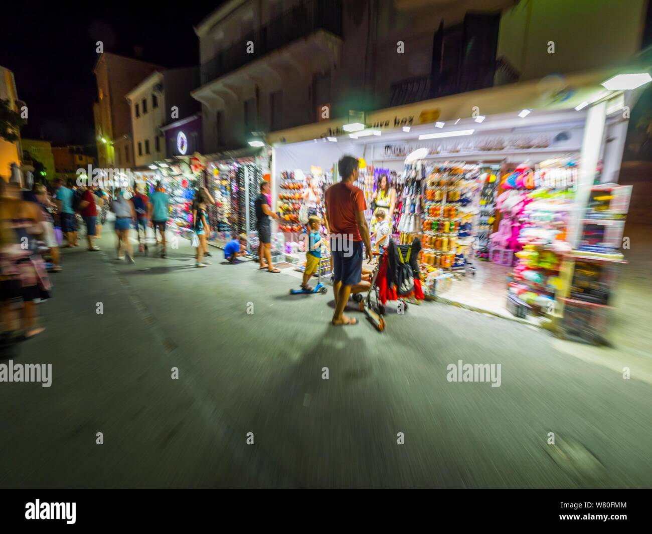 Old town Rab on island Rab in Croatia evening street walk life intentionally semi-blurry Stock Photo