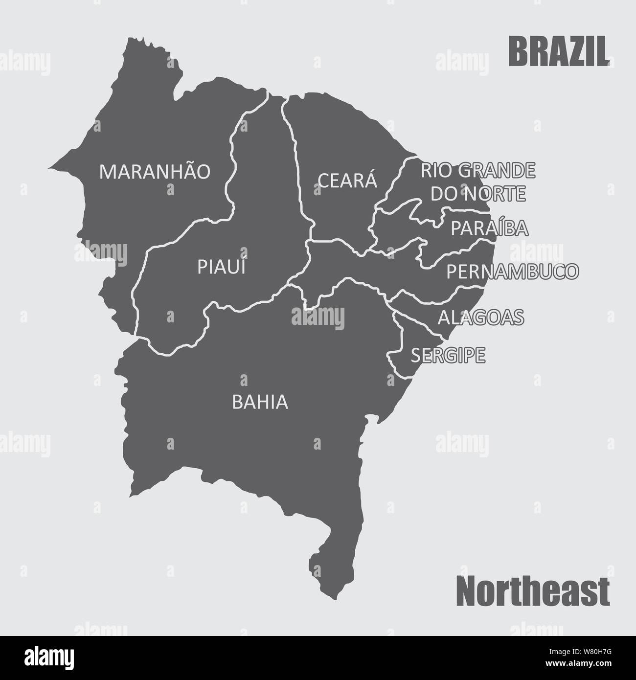 Map of the Brazil northeast region isolated on white ...
