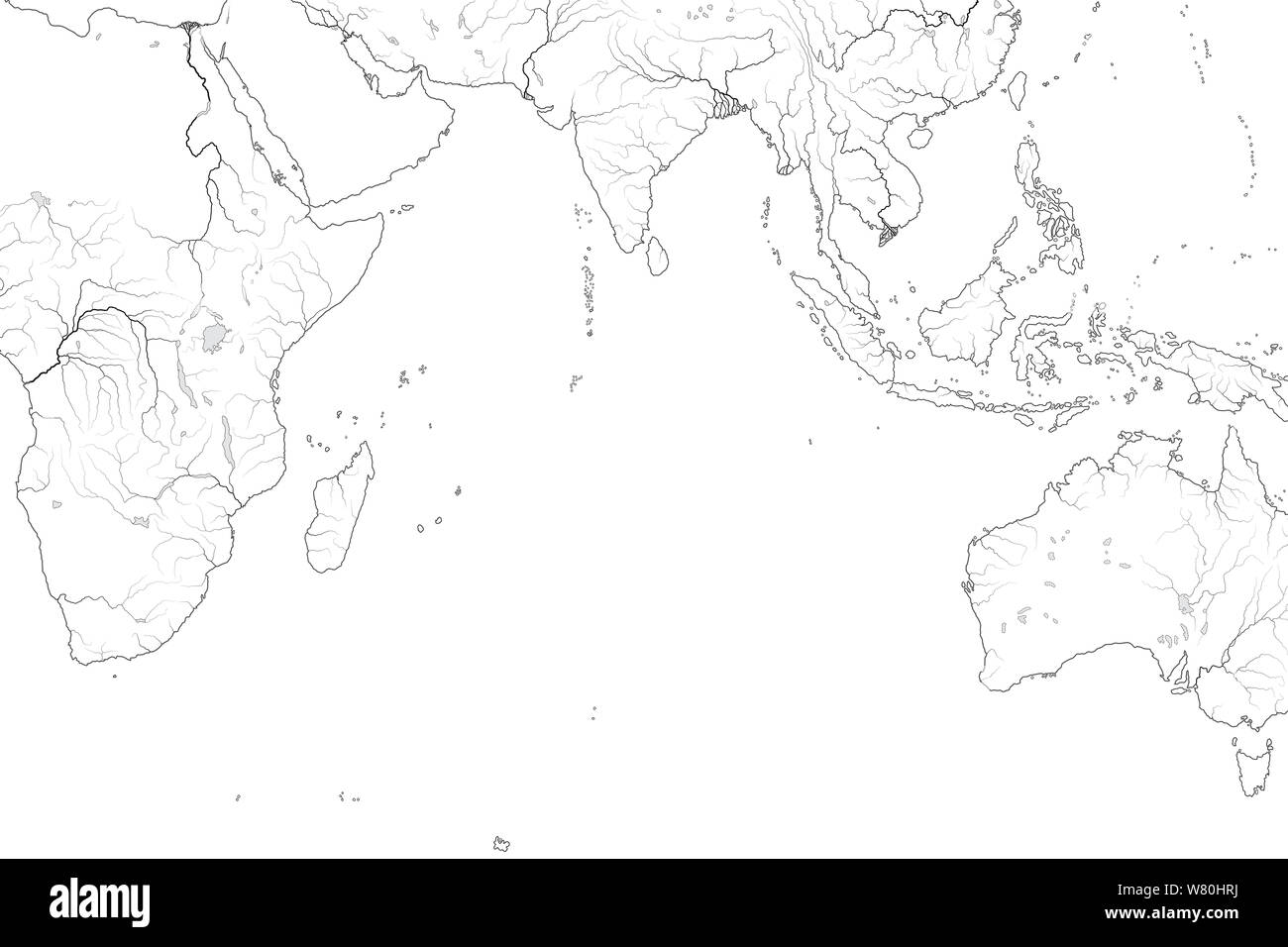 Picture of: World Map Of Indian Ocean Arabian Sea Bengal Bay Sri Lanka The Maldives The Seychelles Ceylon India Africa Australia Indonesia Madagascar Stock Photo Alamy