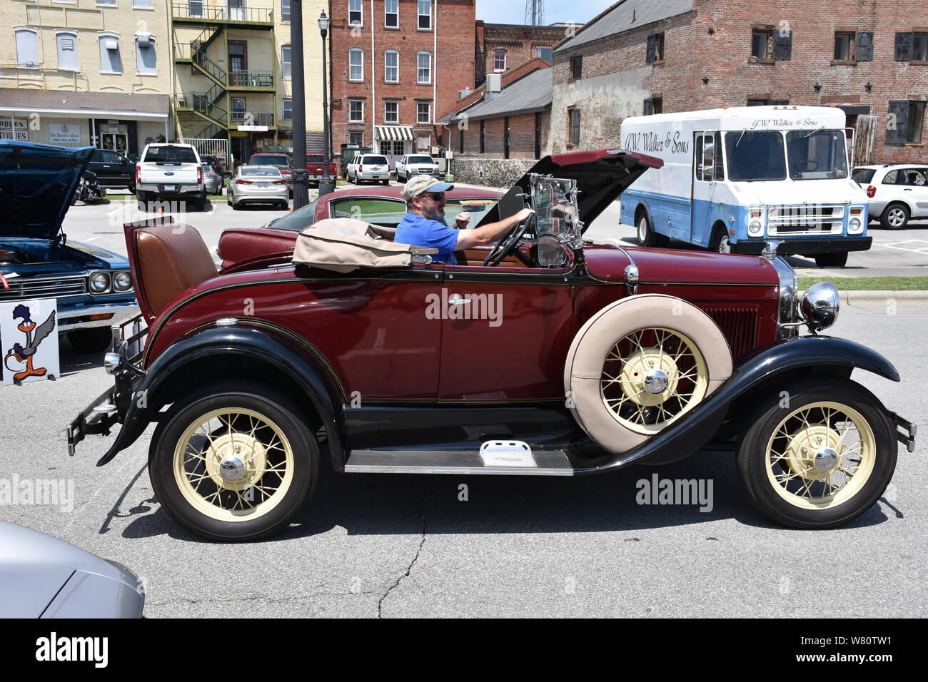 A Vintage Ford car with a Rumble Seat for extra passengers. Stock Photo