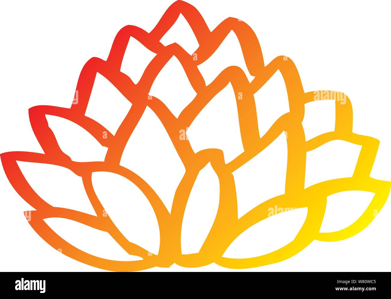 Warm Gradient Line Drawing Of A Cartoon Pile Of Leaves Stock Vector Image Art Alamy