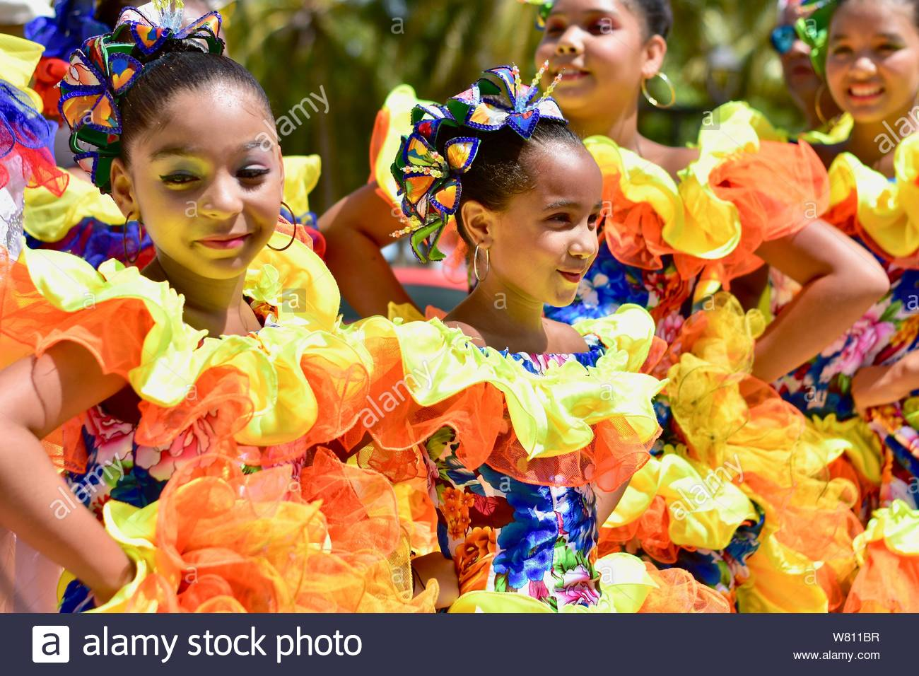 Young ballerinas in the Colombia's independence day. Stock Photo