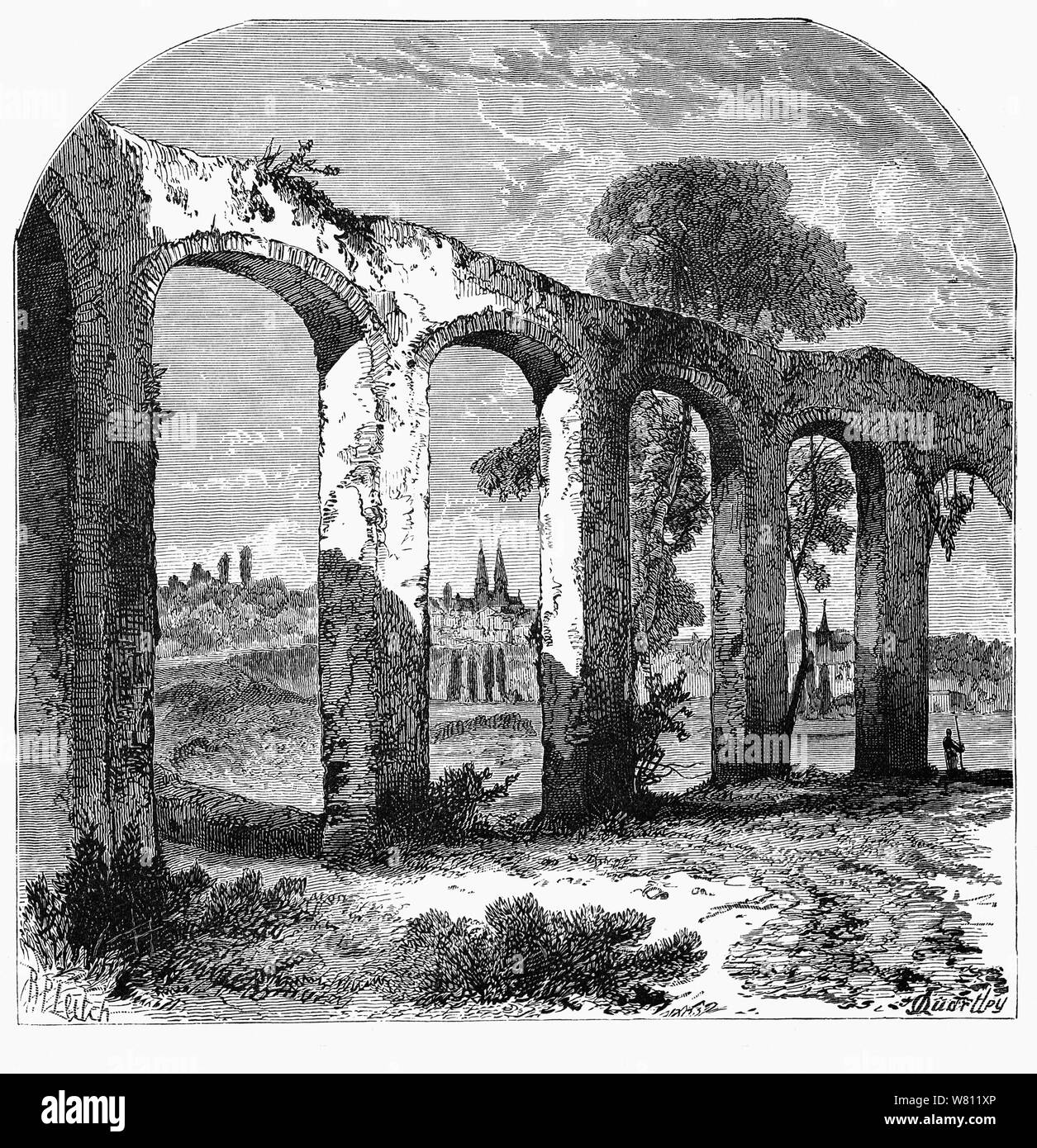 One of the three aqueducts built by the Romans in Poitiers, a city on the Clain river in west-central France. Founded by the Celtic tribe of the Pictones, it as known as the oppidum Lemonum before Roman influence.  The extensive ensemble of Roman constructions suggests Poitiers was a town of first importance, possibly even the capital of the Roman province of Gallia Aquitania during the 2nd century. Stock Photo
