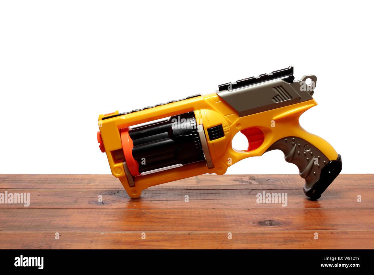 Wooden Gun Toy Slingshot Handcrafted Pretend outdoor play kid boy Cowboy Vintage