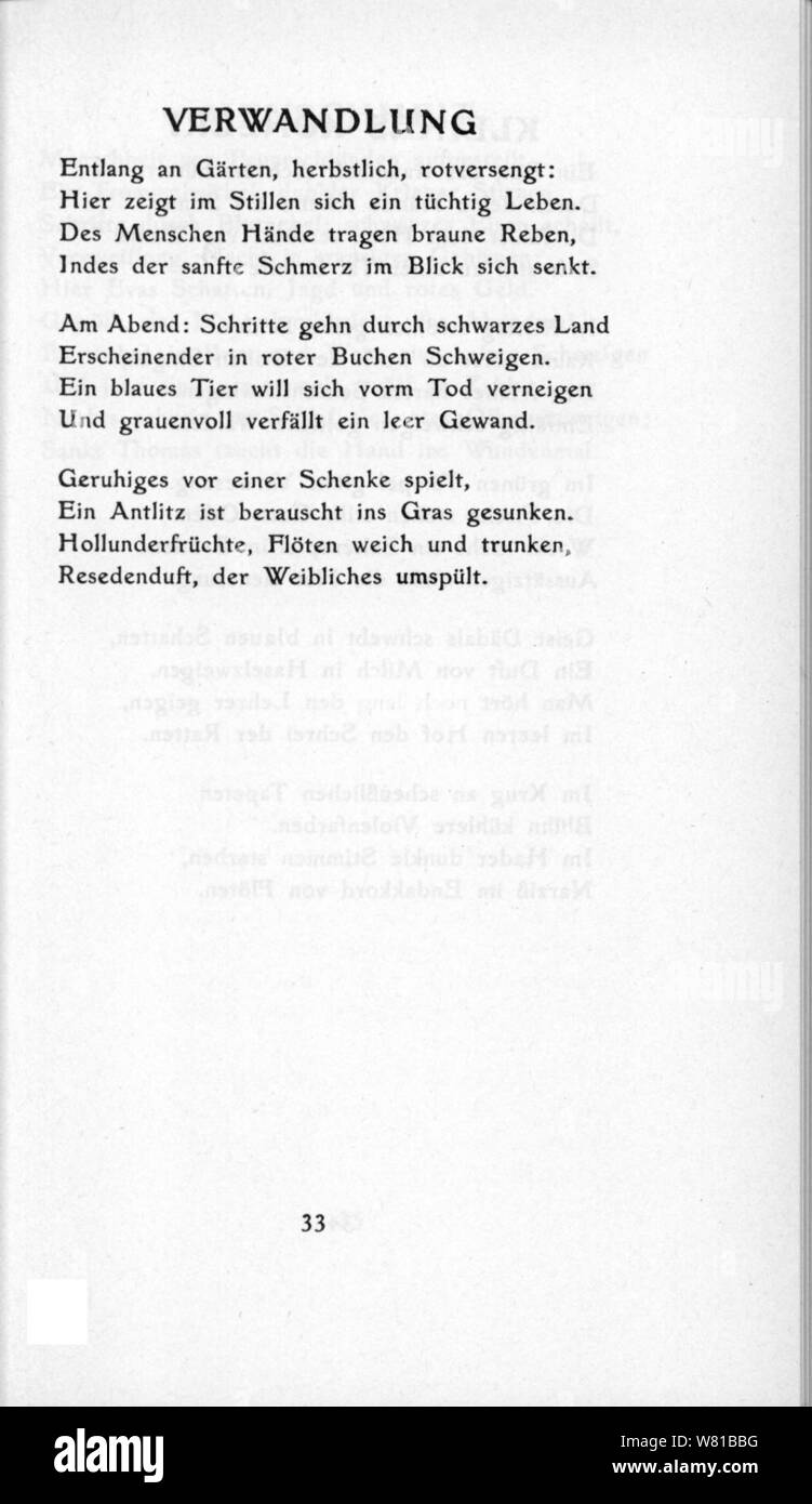 De Trakl Gedichte 1913 33 Stock Photo 263103668 Alamy
