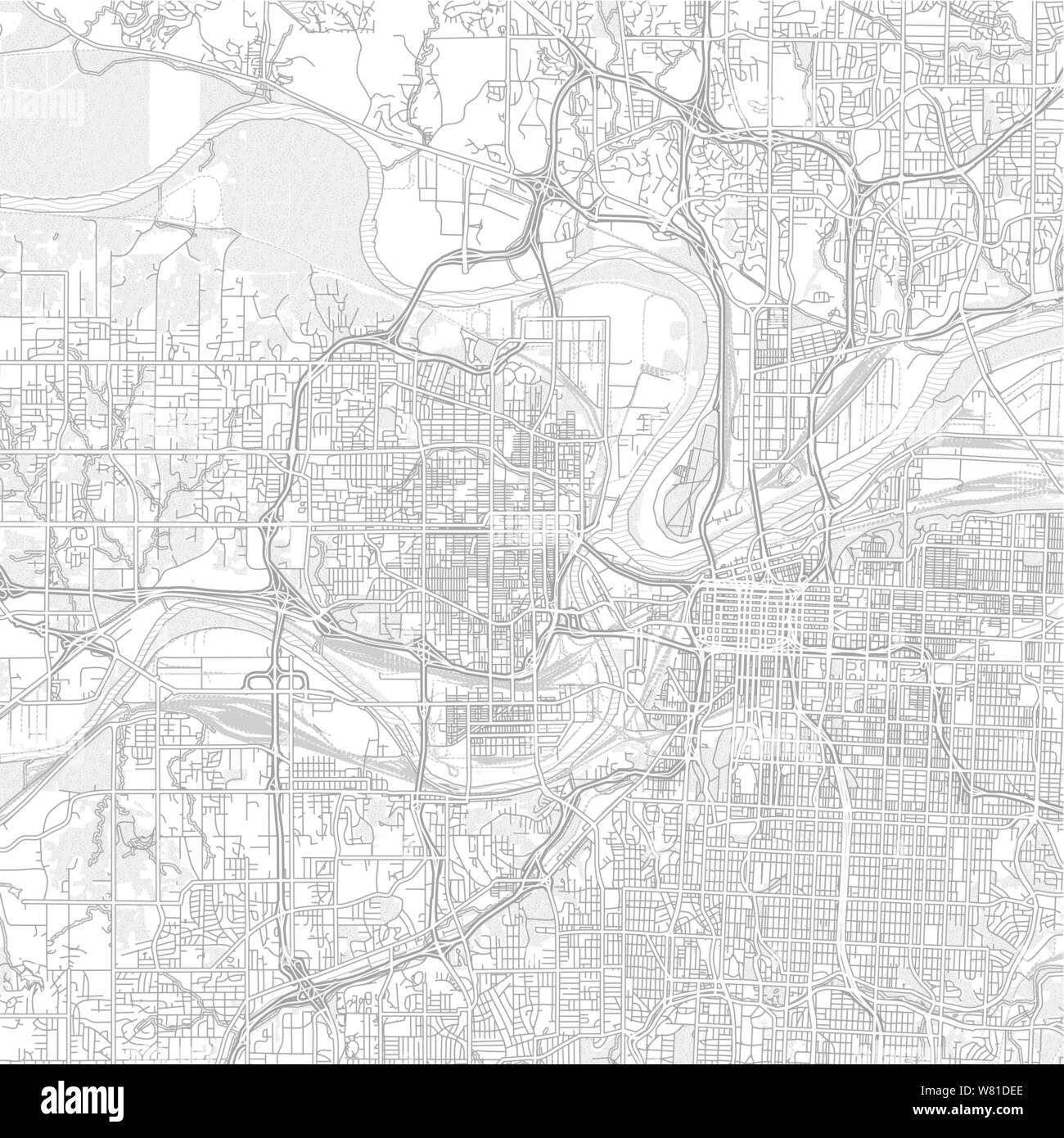 Kansas City, Kansas, USA, bright outlined vector map with ...