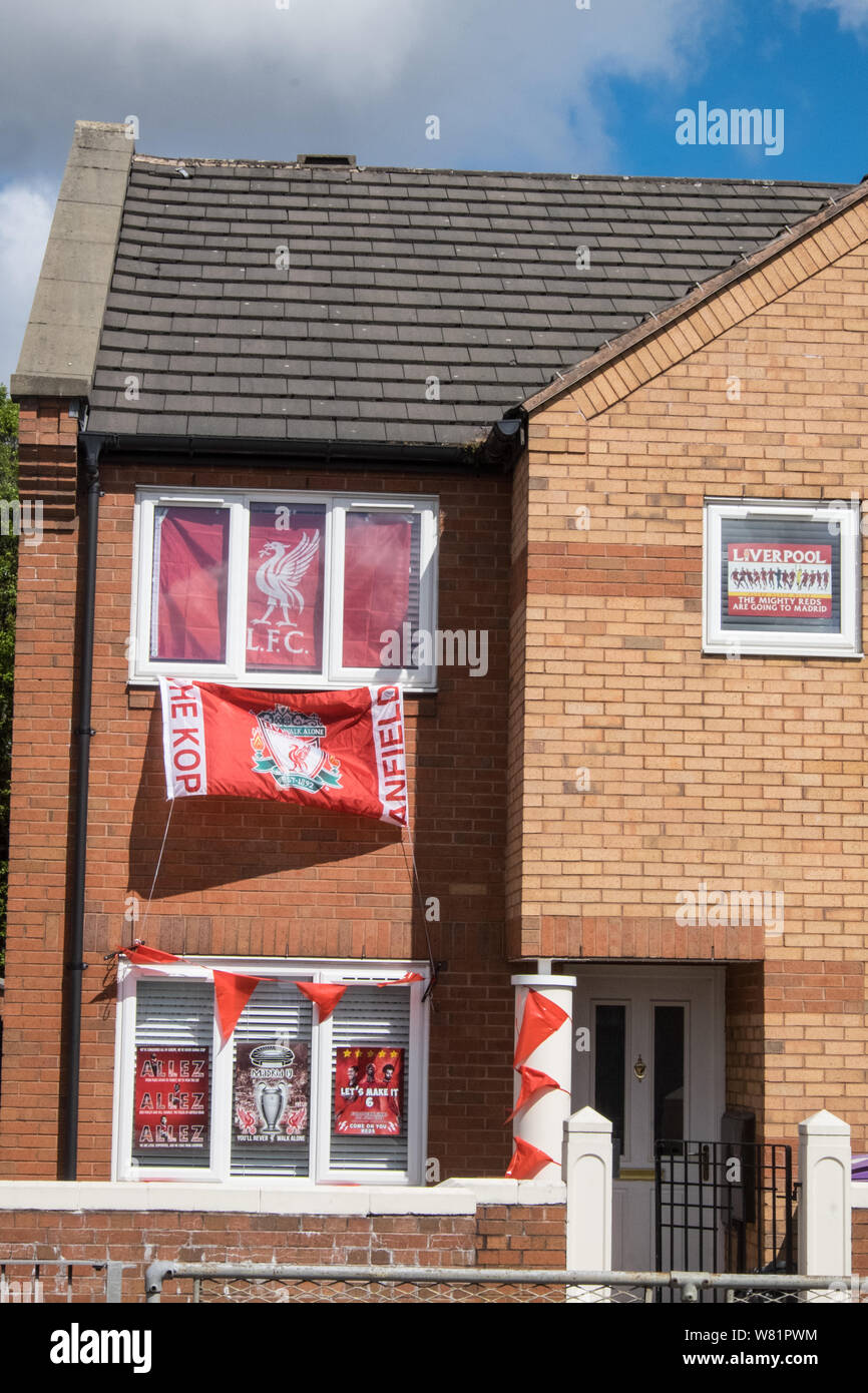 Liverpool Fc Liverpool Football Club Team Colours Flag Flags In Window At House In Liverpool City Centre North Northern City Uk Gb Britain British Stock Photo Alamy