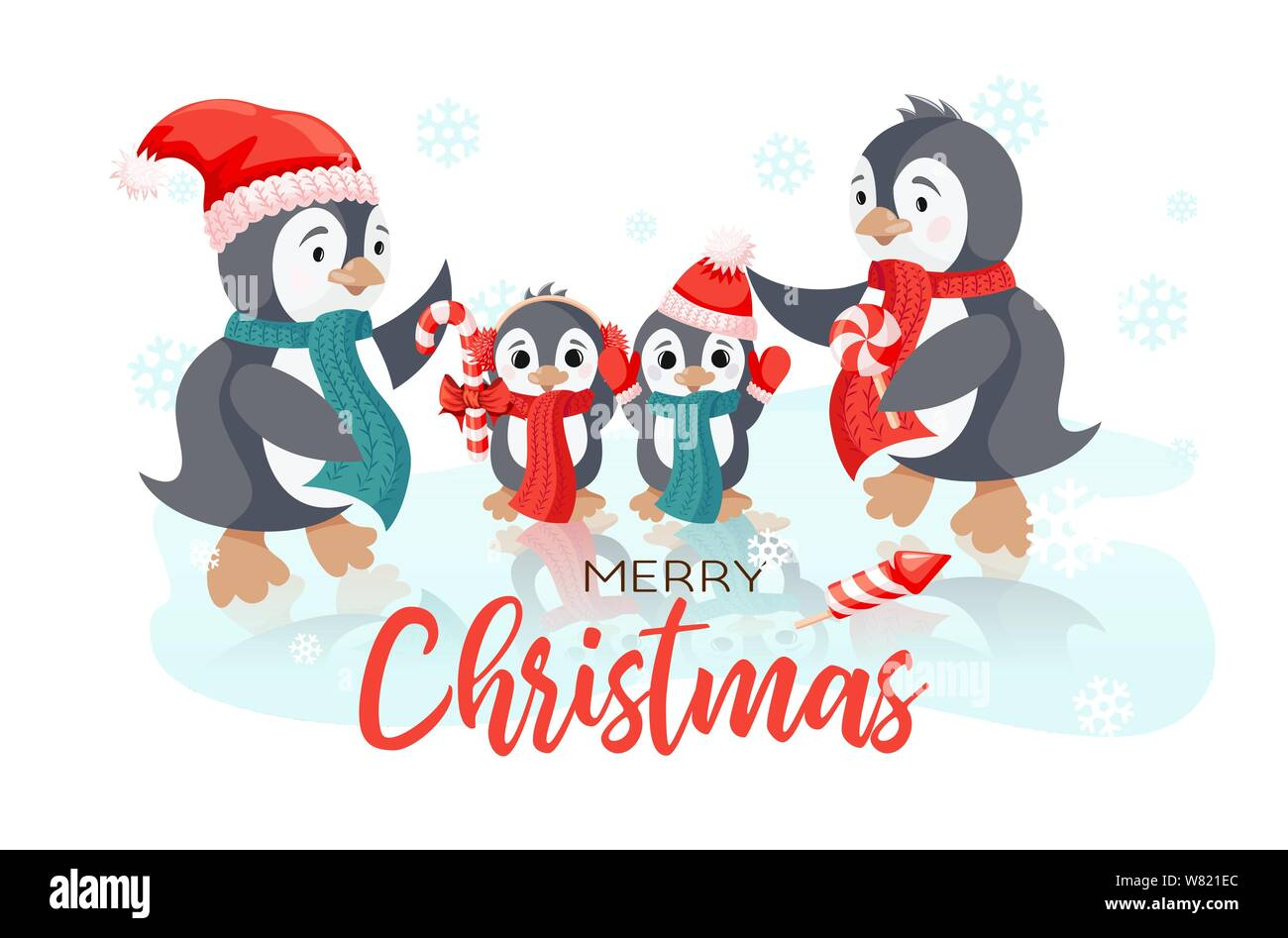 Winter Holiday Vector Christmas Card With Smiling Cute Penguins Family Stock Vector Image Art Alamy