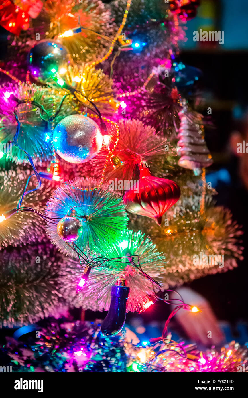 Close Up View Of Christmas Tree Decorated With Colorful Lights Stock Photo Alamy