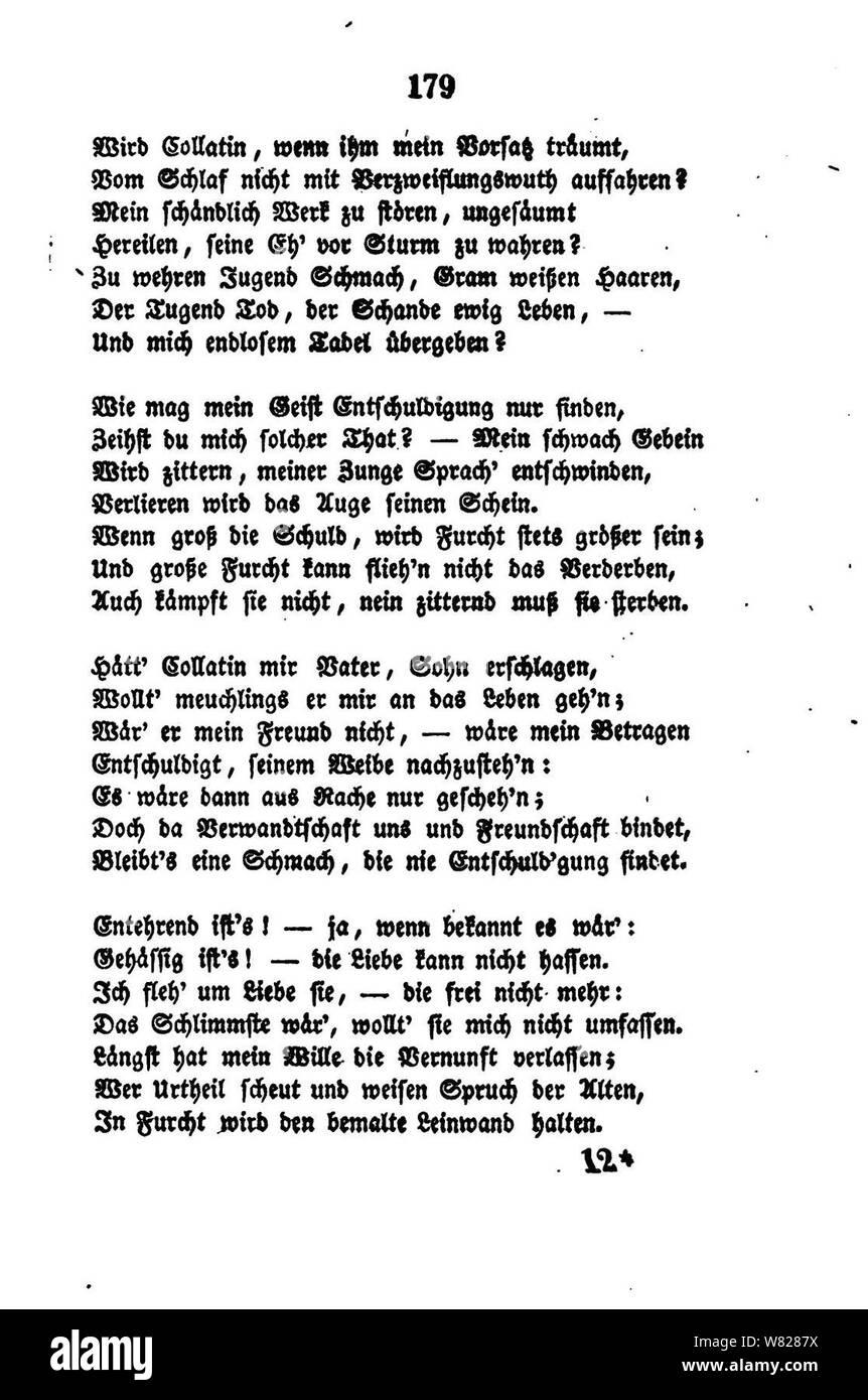 De William Shakspeares Sämmtliche Gedichte 179 Stock Photo