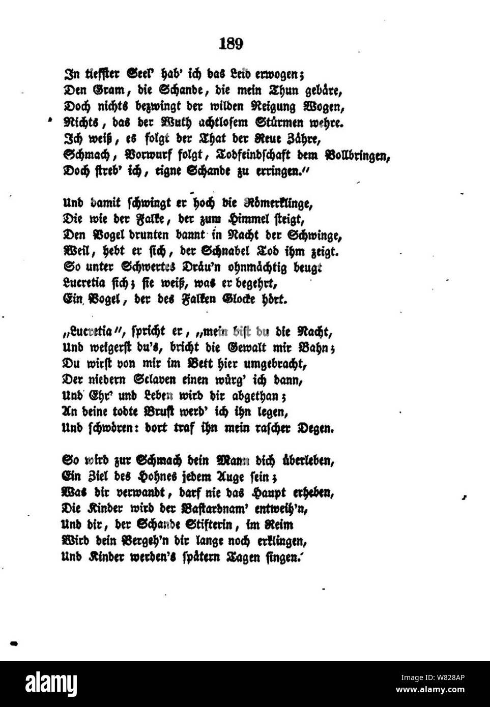 De William Shakspeares Sämmtliche Gedichte 189 Stock Photo