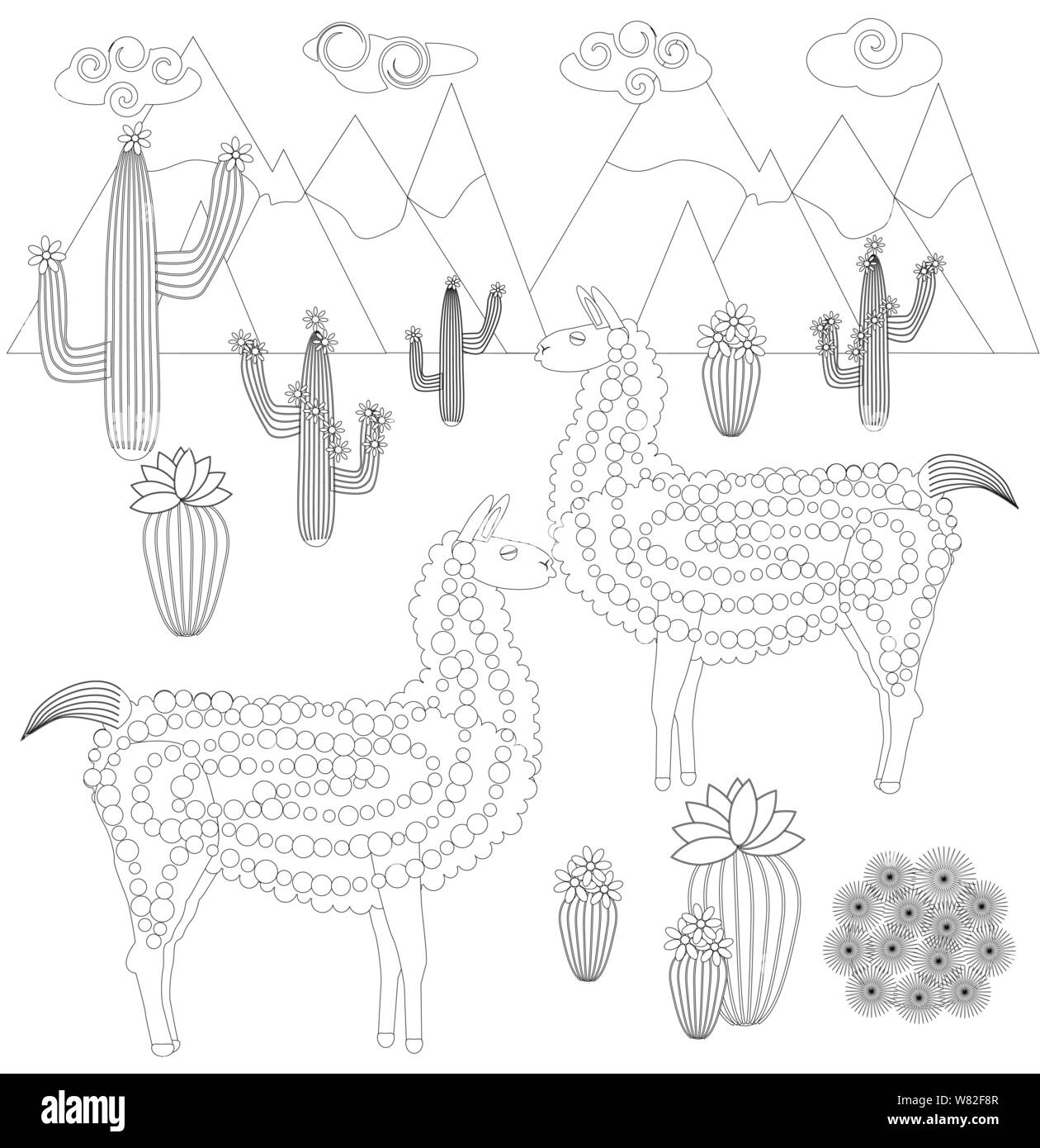 Lama Coloring Images, Stock Photos & Vectors | Shutterstock | 1390x1260