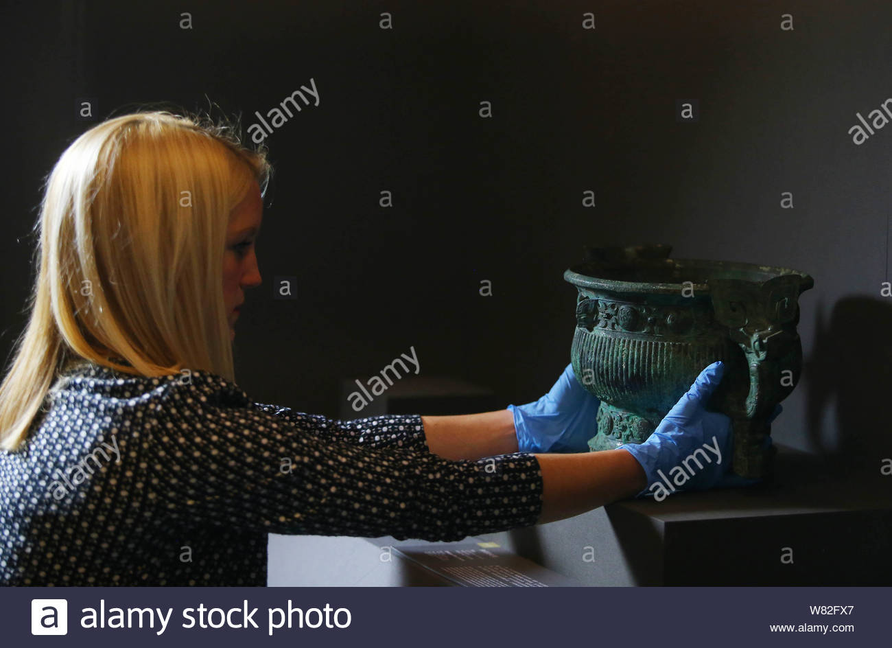 A foreign expert puts a bronze vessel of Western Zhou period (1046¨C771 BC) to be exhibited during an exhibition curated by the British Museum on disp Stock Photo
