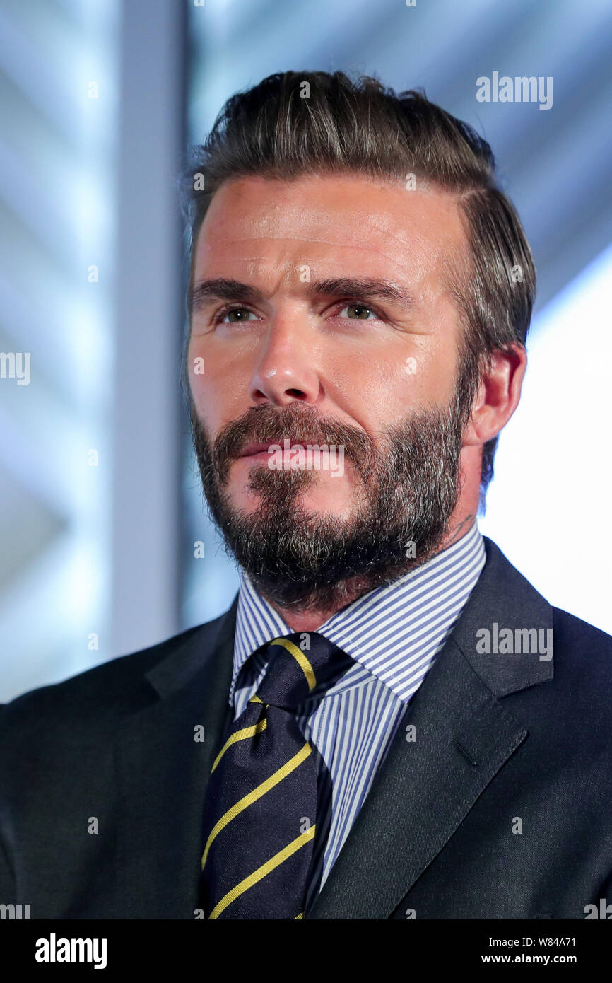 English Soccer Star David Beckham Attends A Press Conference To Promote Haig Club Whisky In Shanghai China 8 November 16 Stock Photo Alamy