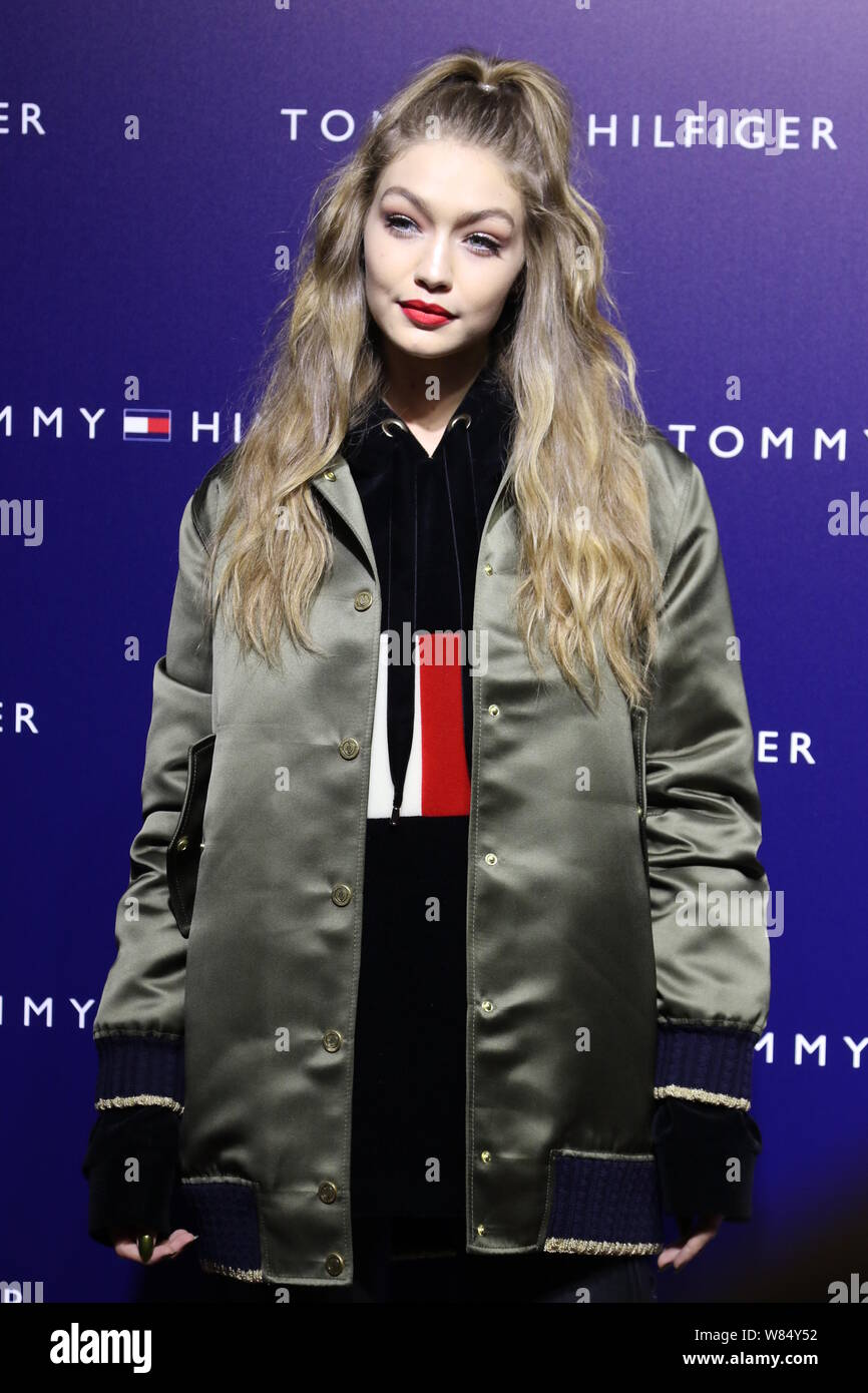 American model Gigi Hadid attends a fashion event by Tommy