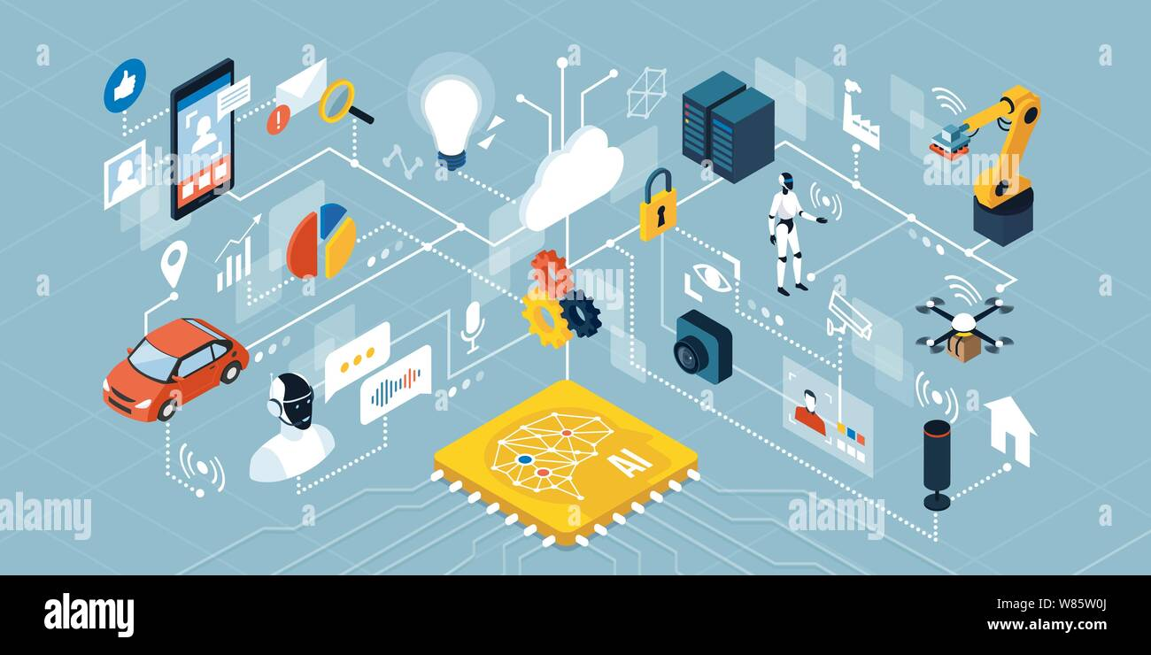 Artificial intelligence applications, smart devices, robots and automation: network of isometric objects connecting together Stock Vector