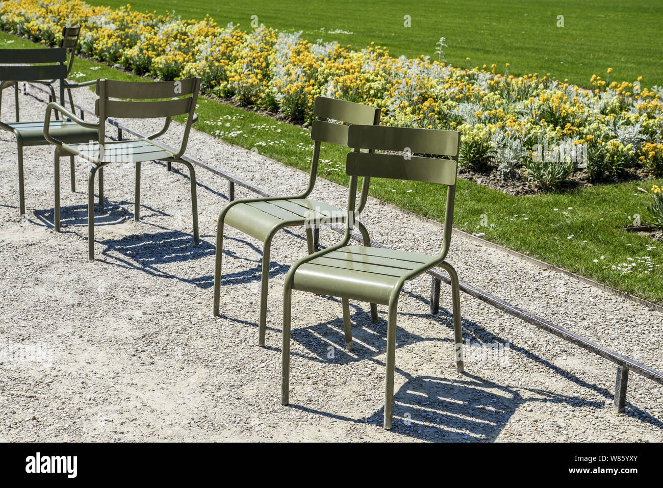 Empry chairs in the Jardin du Luxembourg, or the Luxembourg Garden