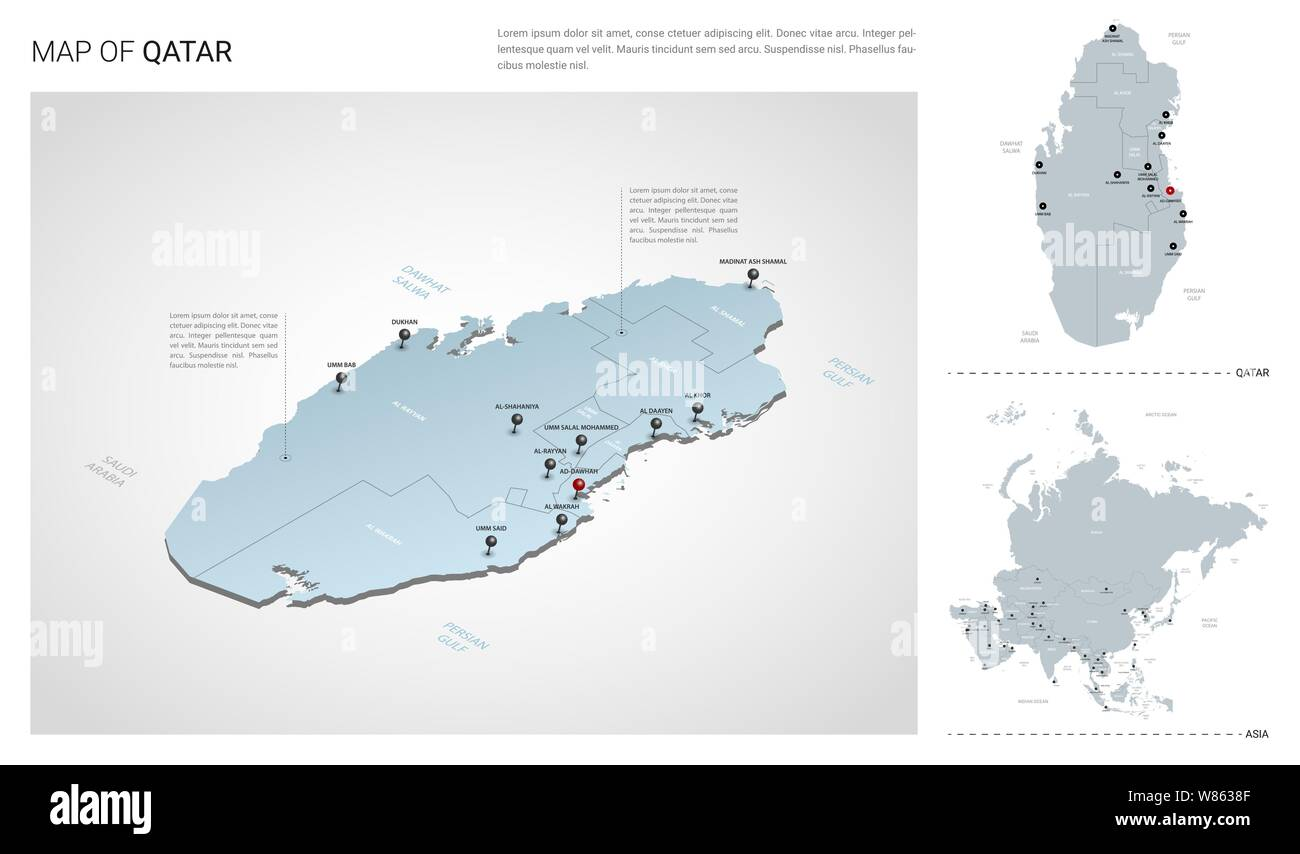 Vector set of Qatar country. Isometric 3d map, Qatar map ...