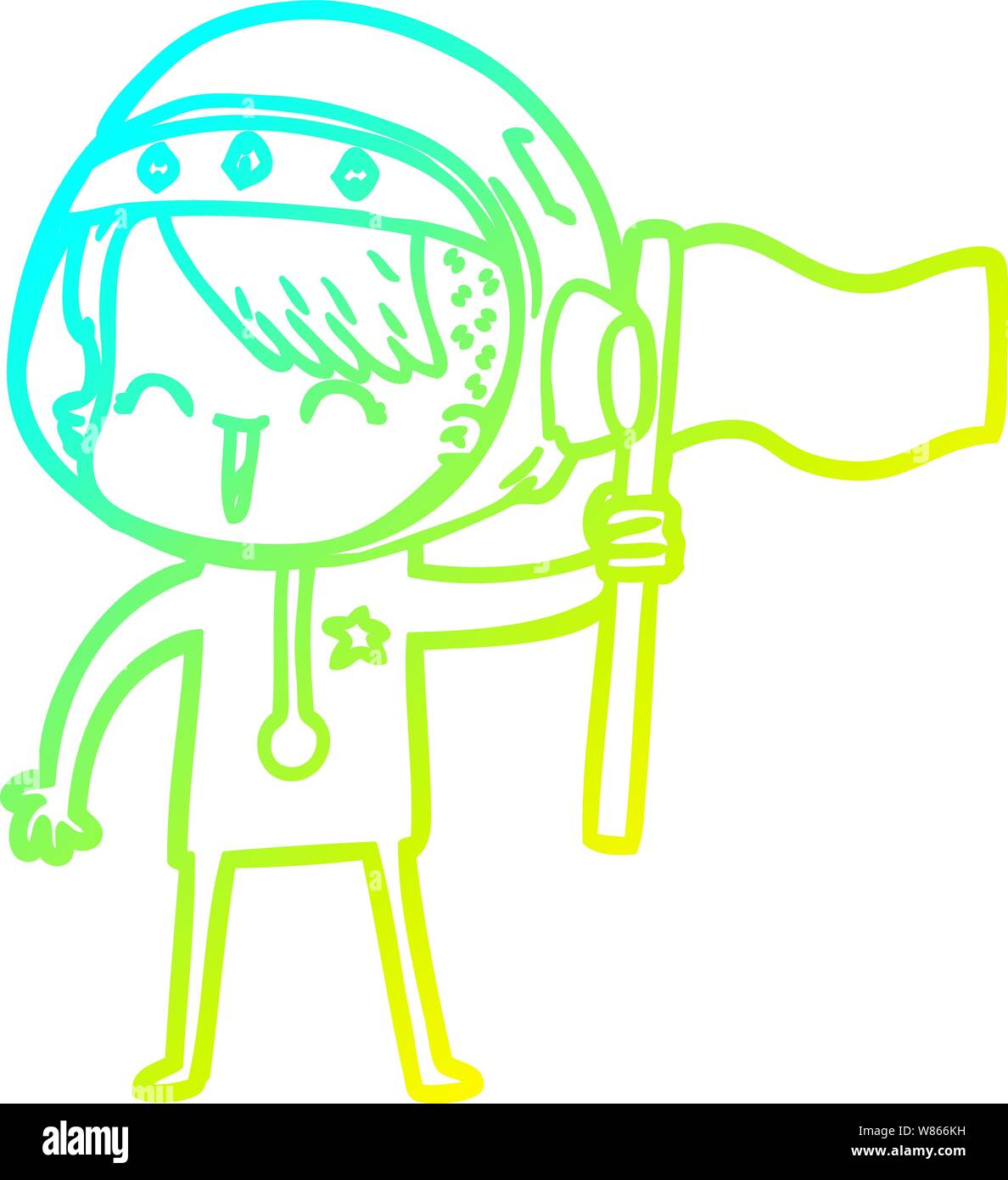 Cold Gradient Line Drawing Of A Happy Cartoon Space Girl Holding