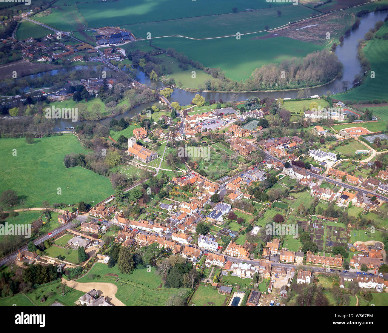 Aerial view of village and River Thames, Sonning, Berkshire, England, United Kingdom Stock Photo