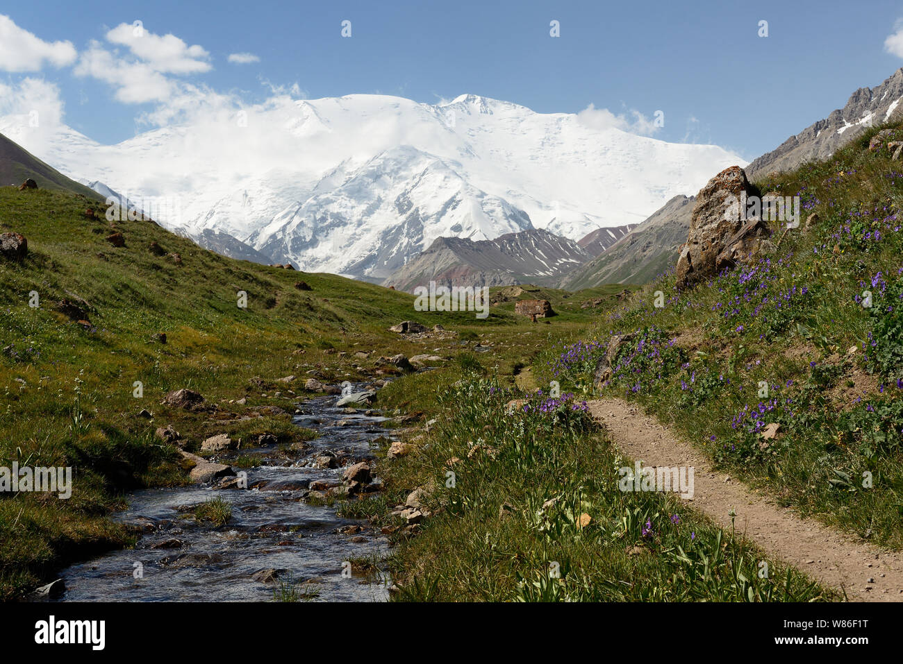 The beautiful Pamir mountains, trekking destination. View on the Lenin Peak, Kyrgyzstan, Central Asia. Stock Photo