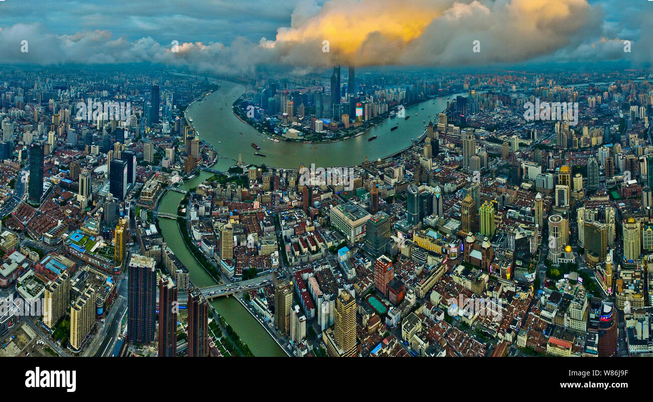 Aerial View Of Puxi Huangpu River And The Lujiazui Financial District With The Oriental Pearl Tv Tower The Shanghai Tower The Shanghai World Financ Stock Photo Alamy