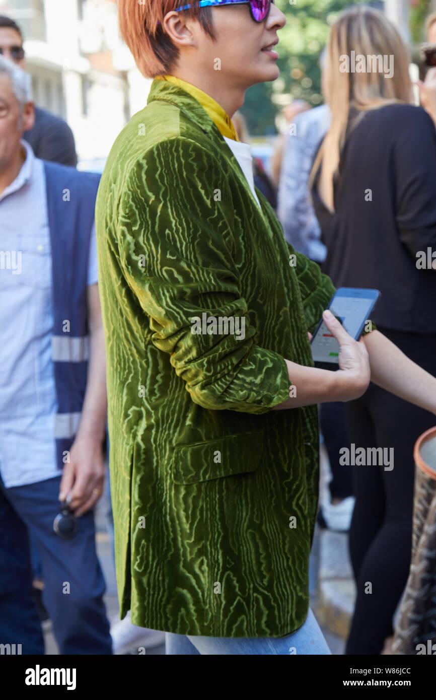 Milan Italy June 16 2019 Man With Green Velvet Jacket Before Etro Fashion Show Milan Fashion Week Street Style Stock Photo Alamy