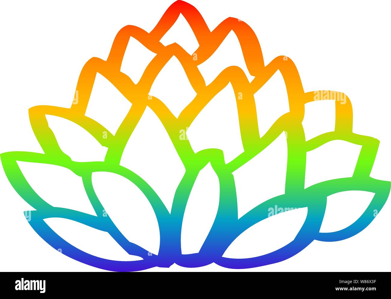 Rainbow Gradient Line Drawing Of A Cartoon Pile Of Leaves Stock Vector Image Art Alamy