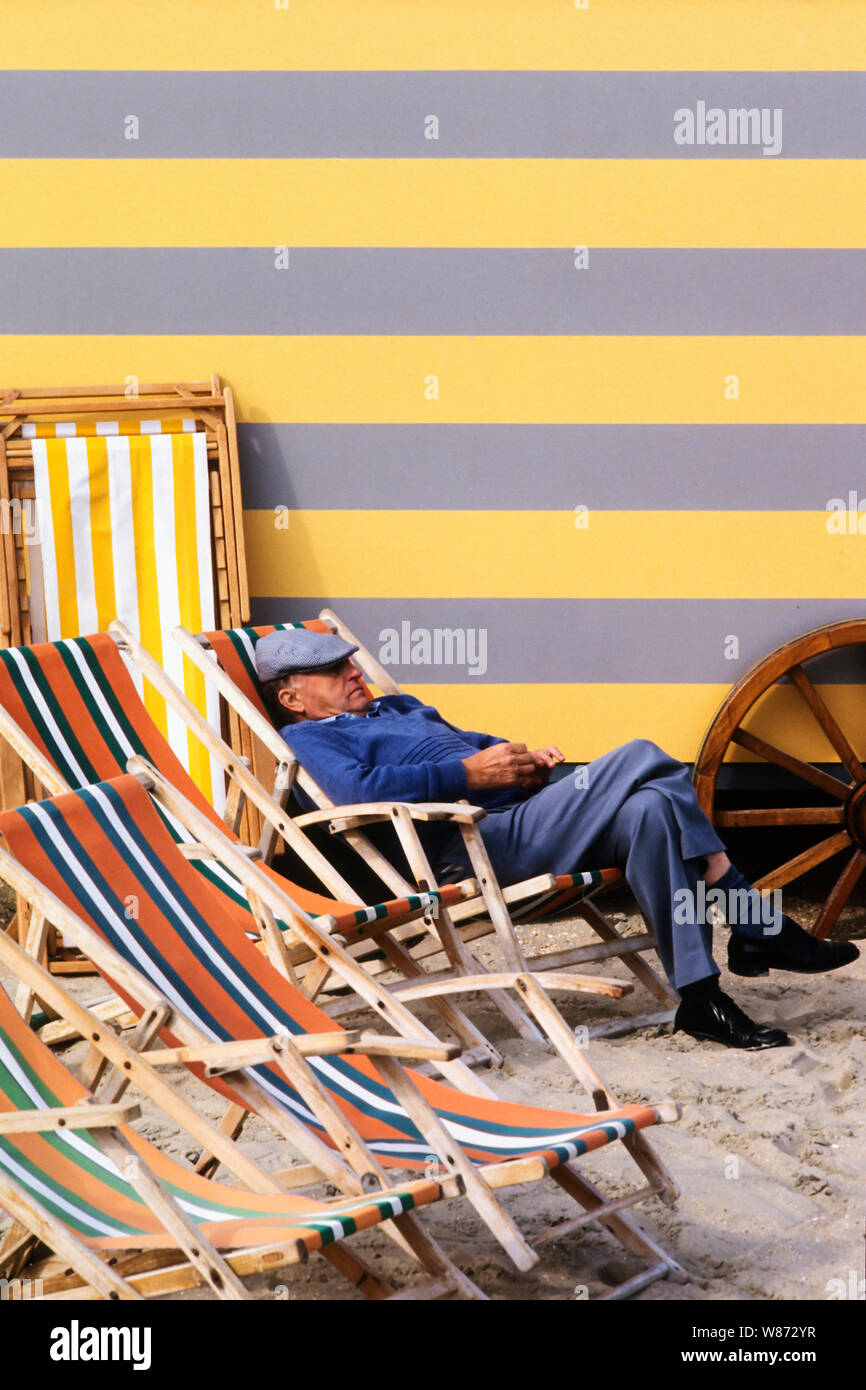 Colorful And Vintage Beach Cabins And Chairs Resting All Summer On The Sand Of The Beach In De Panne Belgium Stock Photo Alamy