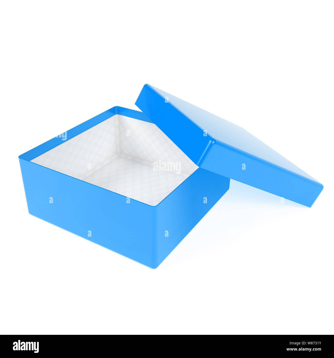 Open box. Blue gift box with open lid. 3d rendering illustration isolated Stock Photo