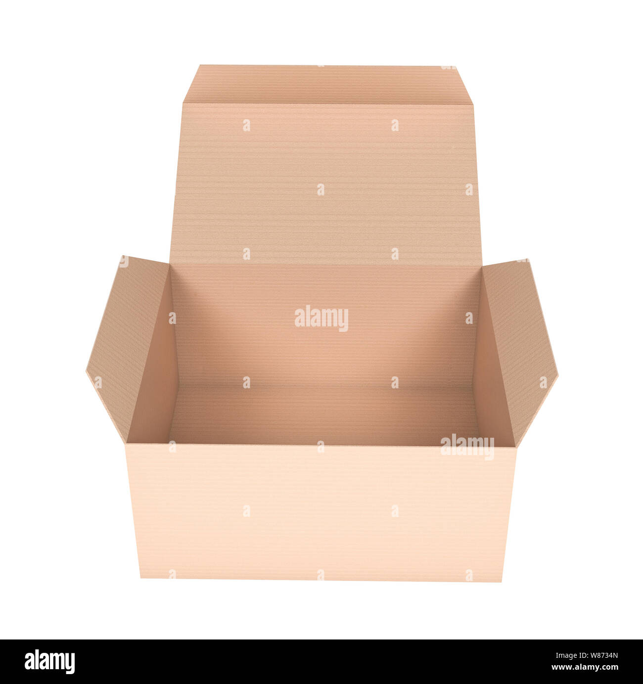 Box. Flat open paper carton. 3d rendering illustration isolated Stock Photo