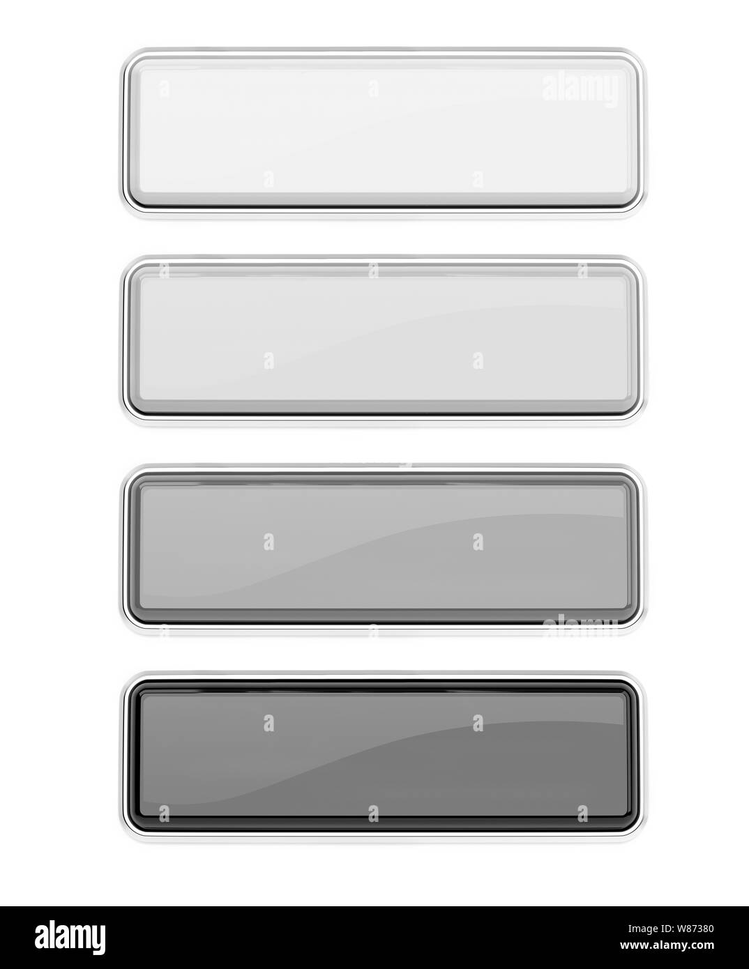 Black and white glass buttons set. Square push buttons with metal frame. 3d rendering illustration isolated Stock Photo