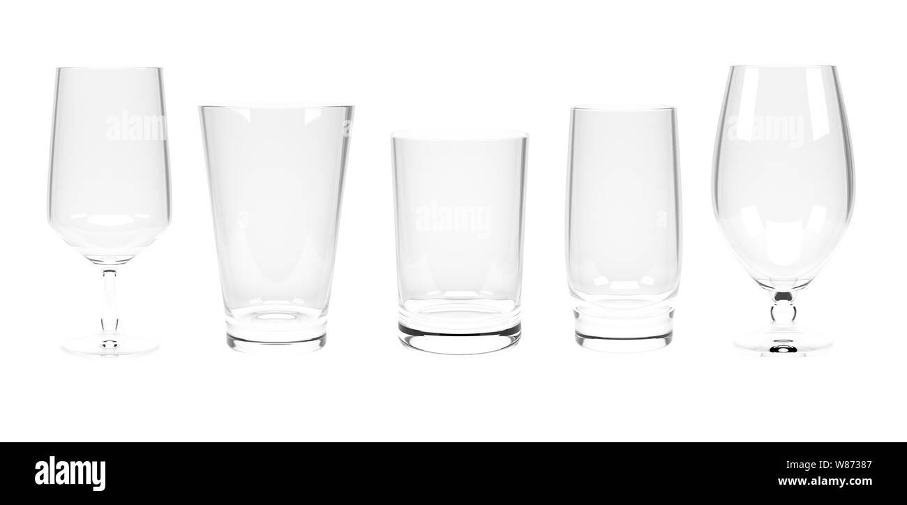Water glasses. Set Stock Photo
