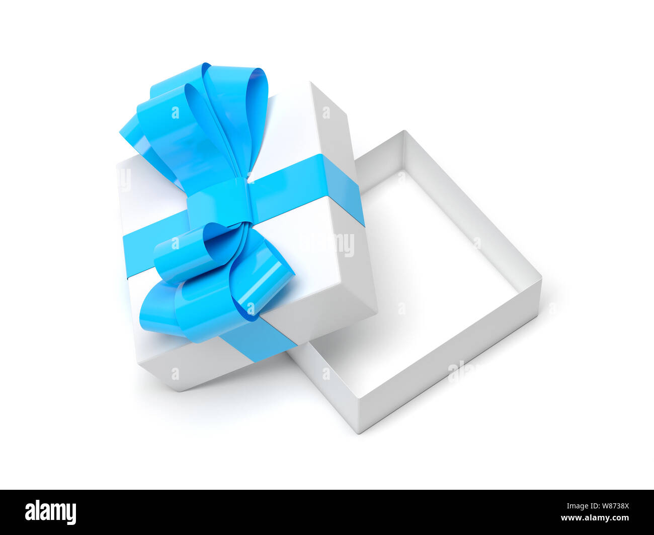 Gift box decorated with ribbon. Open empty container with blue bow Stock Photo