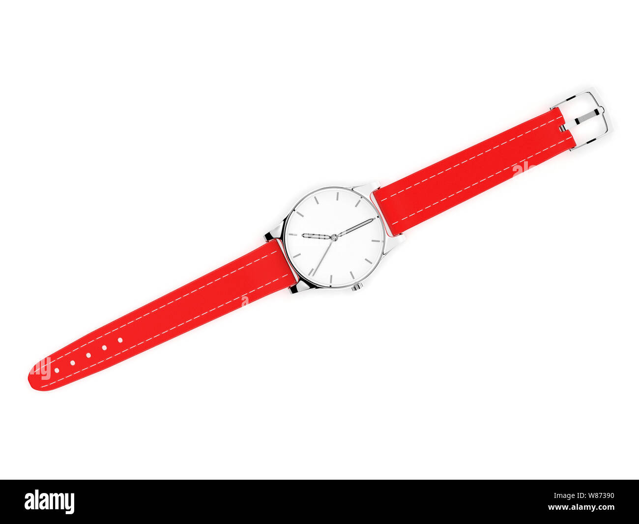Wrist watch with unbuckled bracelet. White dial with metal case and red leather band Stock Photo