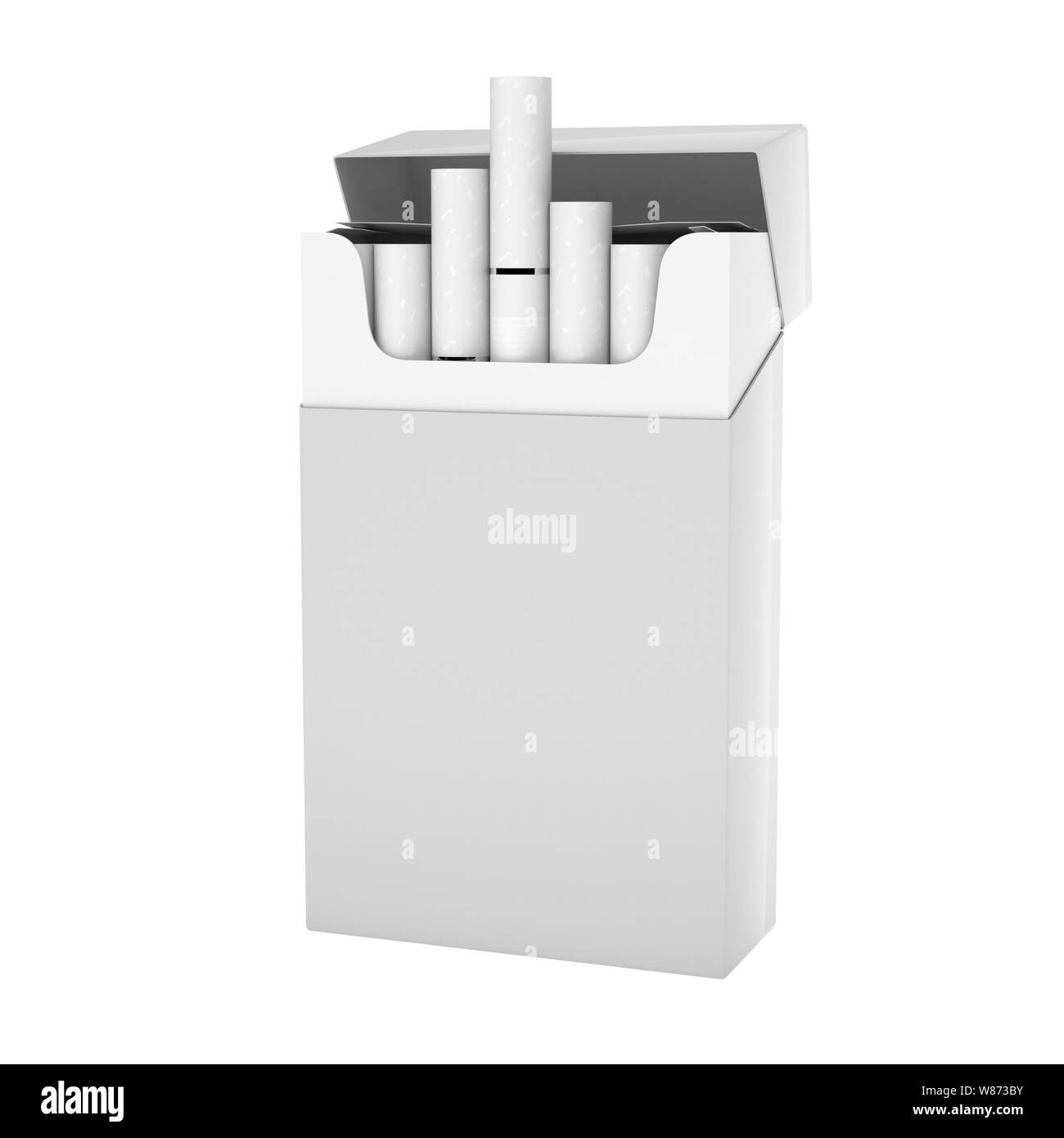 White full pack of cigarettes with white filter Stock Photo